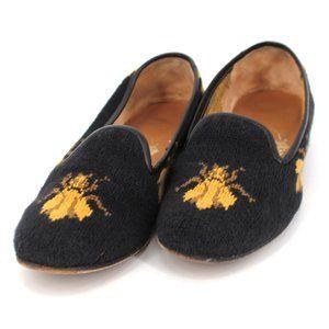 Stubbs & Wootton Bee Needlepoint Loafers Size 6